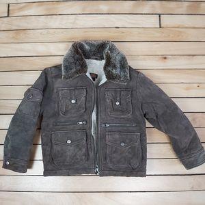 Danier aviator suede lined boy coat multi pockets
